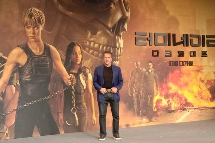 Arnold Schwarzenegger berpose saat menghadiri jumpa pers film Terminator: Dark Fate di Four Seasons Hotel, Seoul, Korea Selatan, Senin (21/10/2019).