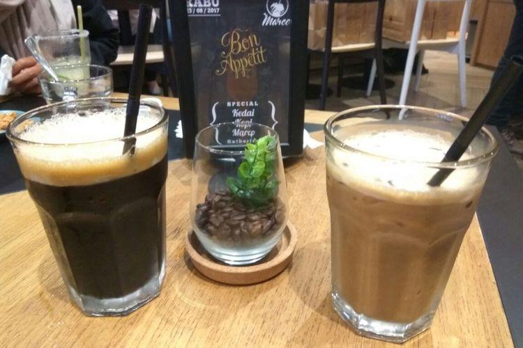 Es kopi khas Padang di Kedai Kopi Marco Mal Gandaria City Jakarta.