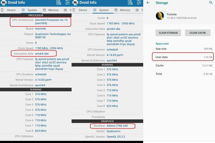 Cara mengetahui jenis CPU dan GPU, serta ukuran file Fortnite di smartphone.