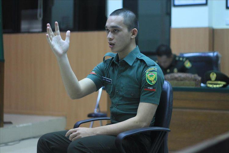 Prada DP ketika menjalani sidang di Pengadilan Militer I-04 Palembang, Kamis (15/8/2019).