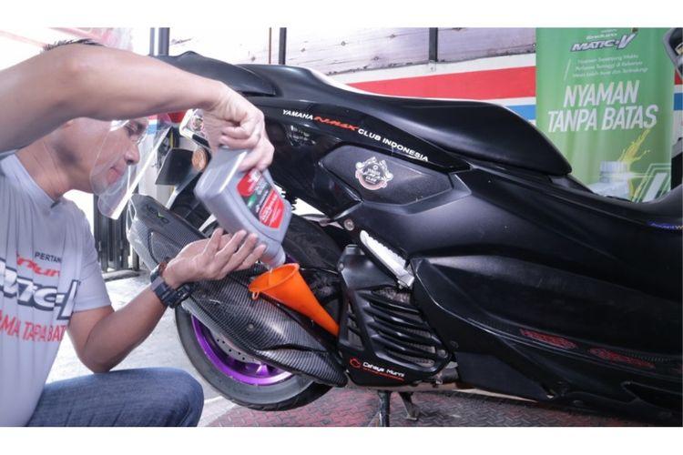 Biker big matic bisa merasakan kenyamanan tanpa batas dari Enduro Matic V di acara Ganti Oli untuk 5.000 Big Matic?, pada 10-14 Desember 2020. (Dok. Pertamina Lubricants).