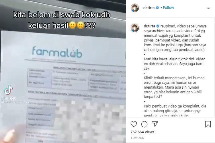 Video viral menunjukkan hasil tes negatif yang keluar tanpa swab di Klinik Farmalab Bandara Soekarno-Hatta.(Tangkapan layar akun Instagram @dr.tirta)