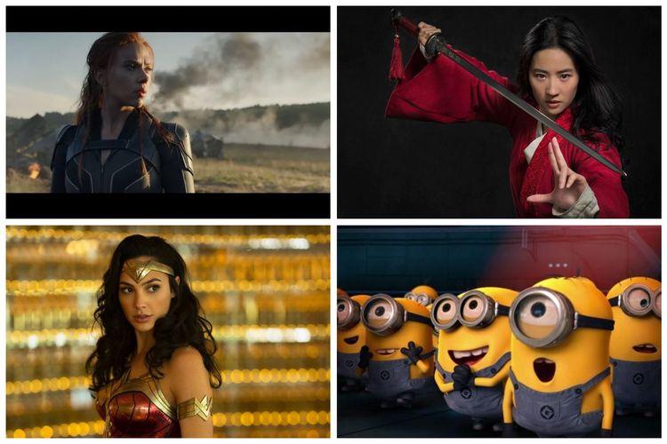 Kolase Foto film Black Widow, Mulan, Wonder Woman 1984, Minions: The Rise of Gru