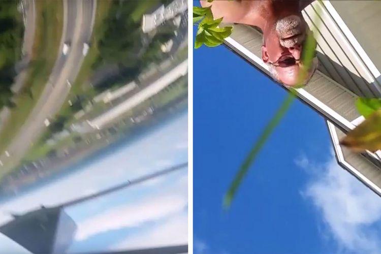 Potongan video saat ponsel Galaxy S5 milik Blake Henderson jatuh dari pesawat (kiri) dan saat ditemukan oleh seseorang usai mendarat. Ponsel jatuh dalam keadaan masih merekam video.