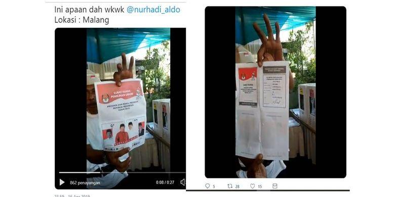 Tangkapan layar surat suara capres cawapres yang ditempel foto Nurhadi-Aldo.
