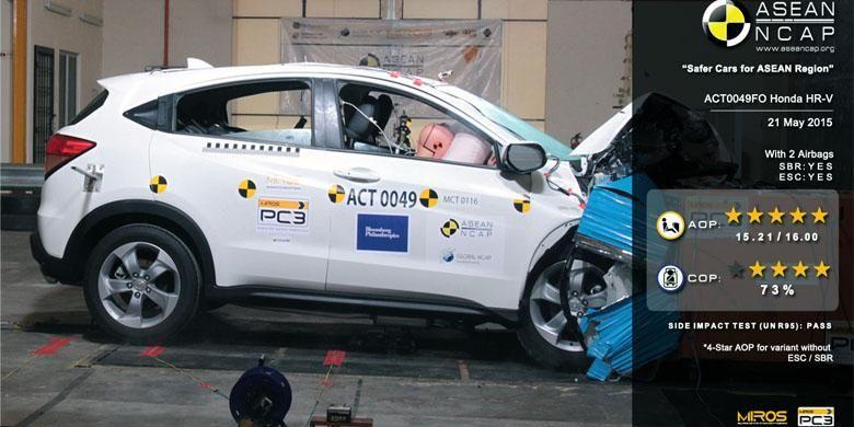 Honda HR-V 1.8L diuji tabrak ASEAN NCAP, hasilnya bisa mendapat rating lima bintang.