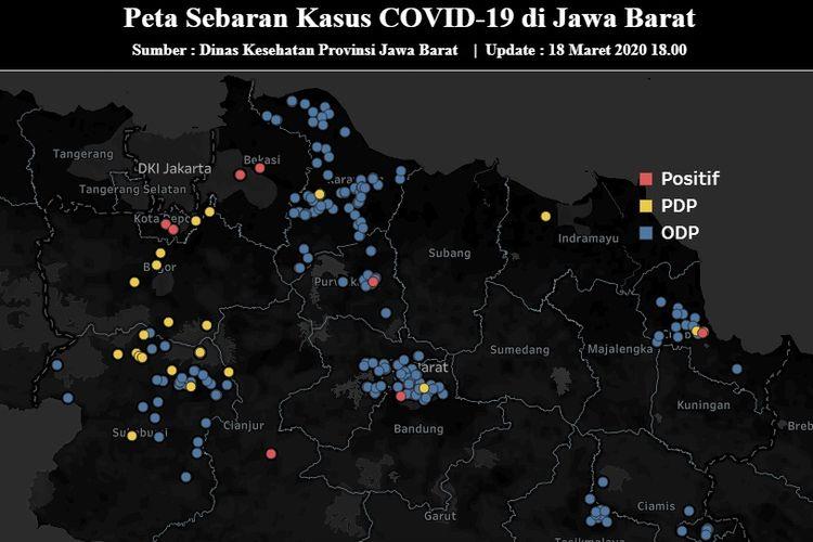 Peta sebaran Covid-19 di Jabar per 18 Maret 2020 pukul 15.00 WIB