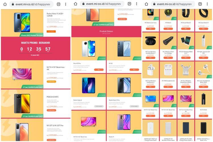 Daftar harga produk Xiaomi di situs palsu.