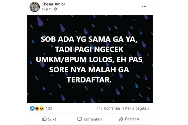Tangkapan layar unggahan warganet yang mengaku pagi hari sempat dinyatakan sebagai penerima bantuan UMKM, tetapi sorenya berubah menjadi tidak terdaftar.