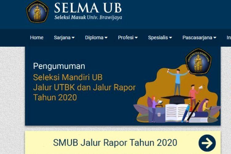 Informasi Seleksi Mandiri Jalur Rapor 2020 di Universitas Brawijaya.
