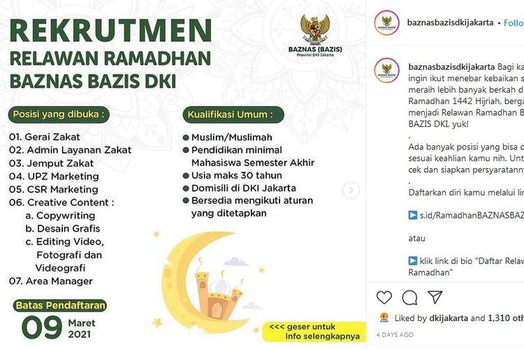 Lowongan relawan ramadhan Baznas Bazis DKI Jakarta