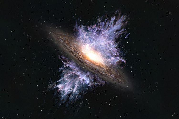 Ilustrasi artis tentang badai galaksi raksasa yang didorong oleh lubang hitam supermasif di pusat sebuah galaksi. Temuan teleskop ALMA ini mengungkap evolusi galaksi dan lubang hitam di alam semesta.