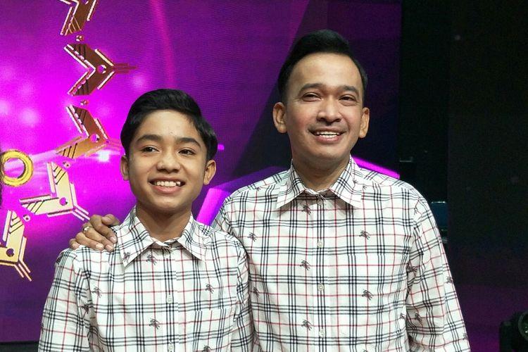 Betrand Peto dan Ruben Onsu usai acara launching jingle KDI di Studio RCTI+, Kebon Jeruk, Jakarta Barat, Rabu (11/3/2020)