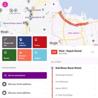 Trafi memperlihatkan angkutan umum maja saja yang berada di sekitar berikut jenis dan rutenya.