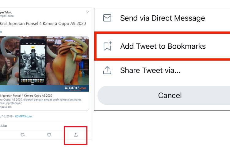 Cara mencari menu bookmarks dengan mengetuk ikon share di bawah postingan yang ingin disimpan.