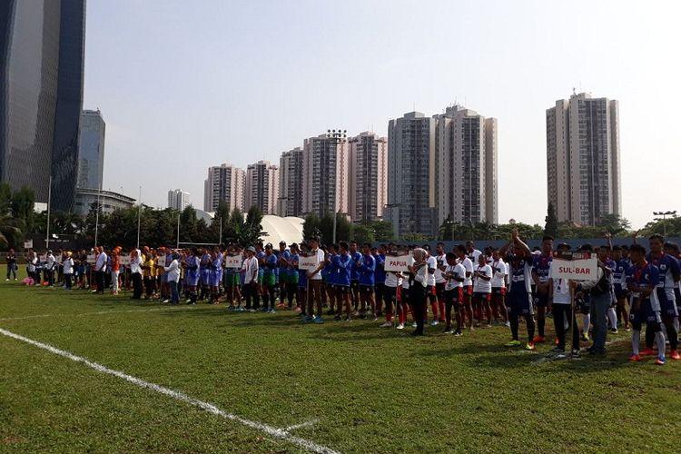 Kejuaraan Nasional Rugbi 7s di Kuningan, Jakarta Selatan.