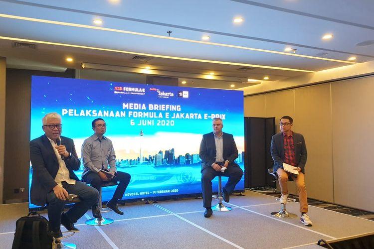 Narasumber dalam acara Media Briefing Pelakasaan Formula E Jakarta 2020 di Novotel Hotel, Cikini, Jakarta Pusat, Jumat (14/2/2020).