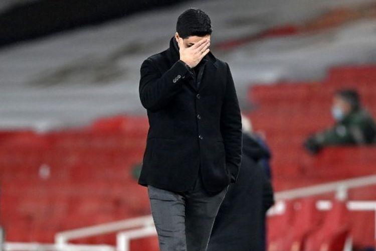 Pelatih Arsenal, Mikel Arteta, pada laga kontra Crystal Palace di Stadion Emirates, Jumat (15/1/2021) dini hari WIB.