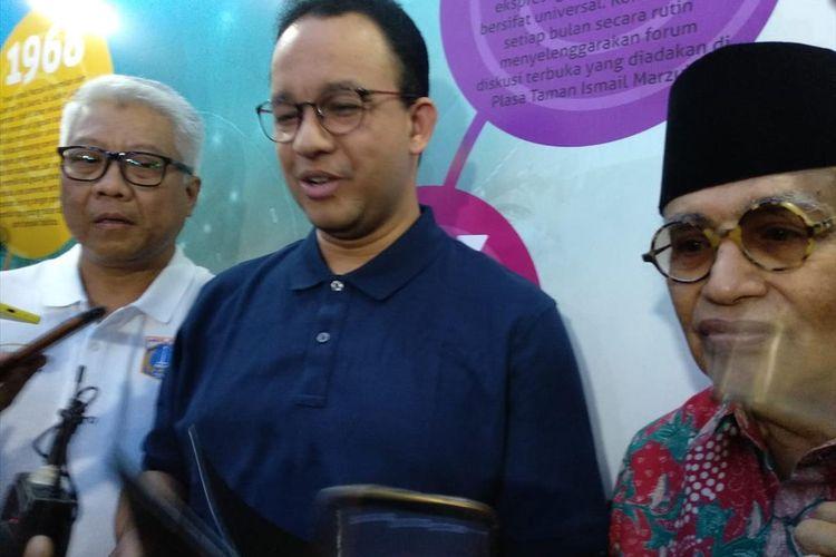 Gubernur DKI Jakarta Anies Baswedan sesuai peletakan batu pertama revitalisasi Taman Ismail Marzuki, Rabu (3/7/2019)