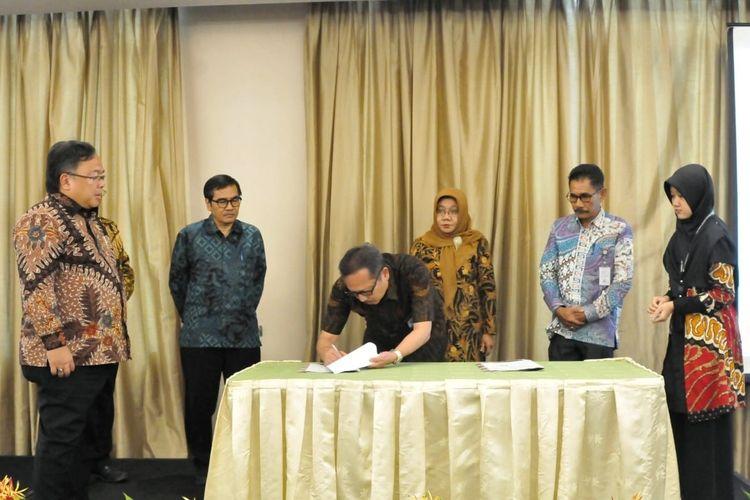 Menristek Bambang saat pengumuman Pendanaan Penelitian PTNBH dan penandatanganan kontrak Penelitian dan Pengabdian Masyarakat tahun 2020 di Jakarta (26/2/2020).