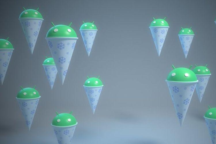 Ilustrasi Snow Cone, nama santapan manis yang diberikan Google kepada Android 12.
