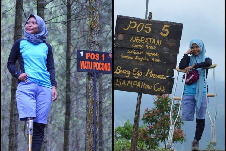 Arrohmah saat membagikan foto dirinya, usai melakukan pendakian dengan menggunakan bantuan kaki palsu.