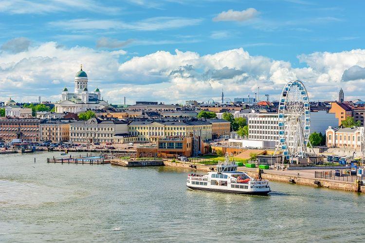 Ilustrasi Finlandia - Pemandangan Kota Helsinki.