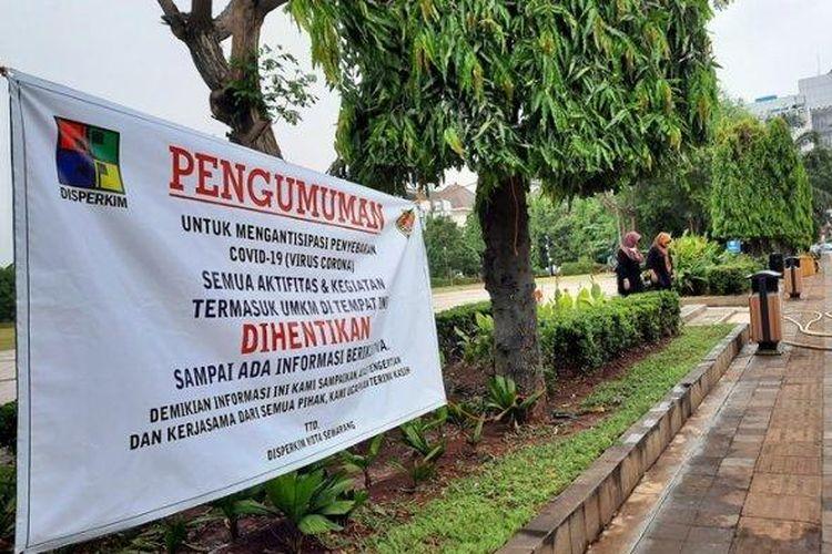 Dinas Perumahan dan Permukiman (Disperkim) Kota Semarang menghentikan segala bentuk kegiatan maupun aktivitas di Lapangan Pancasila Simpanglima.