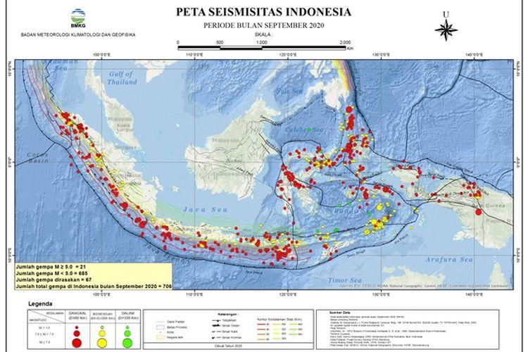 Peta seismisitas Gempa di Indonesia periode September 2020.