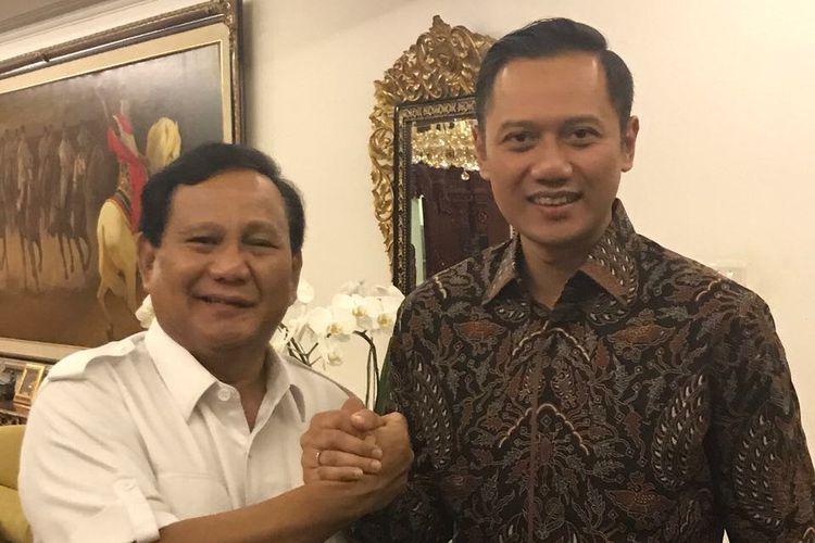 Agus Harimurti Yudhoyono menemui Ketua Umum Partai Gerindra Prabowo Subianto, Selasa (31/10/2017).