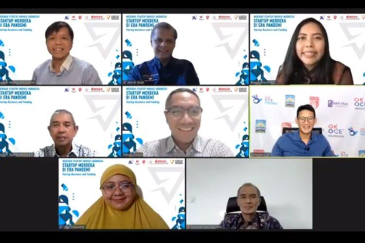Para narasumber webinar (Kemenristek) secara virtual, Kamis (27/8/2020), salah satunya menghadirkan pembicara kunci Sandiaga Uno.