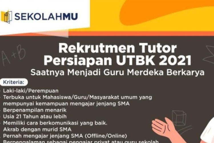 Lowongan Tutor UTBK-SBMPTN 2021, Terbuka untuk Mahasiswa dan Umum