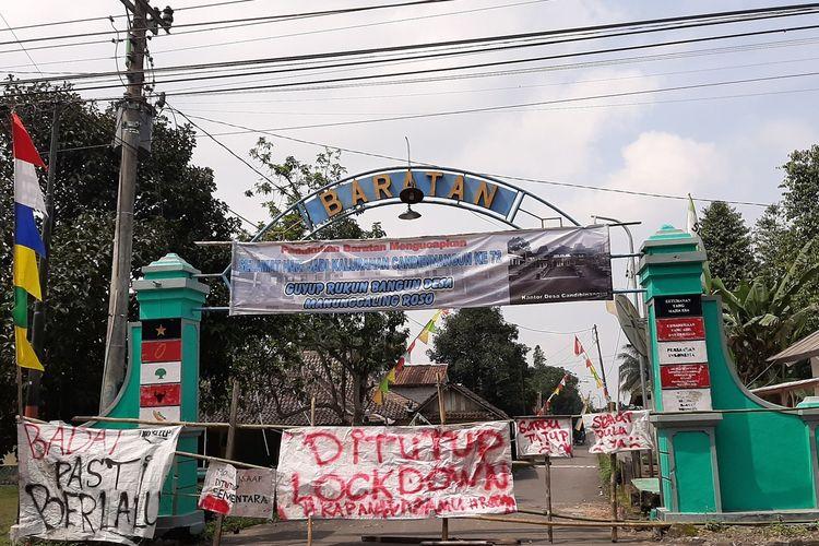Akses jalan menuju Dusun Baratan, Desa Candibinangun, Kecamatan Pakem ditutup sementara dan ditulisi Lock Down