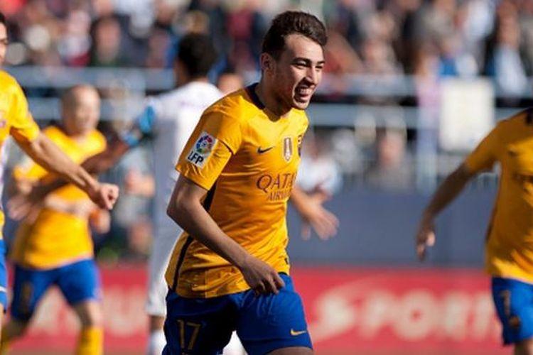 Munir El Haddadi mencetak gol pembuka Barcelona ke gawang Malaga di La Rosaleda, Sabtu (23/1/2016).