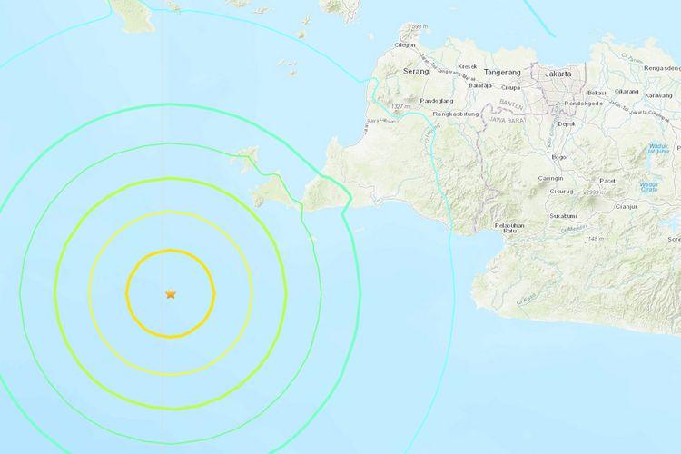 Peta lokasi gempa di wilayah Banten, Jumat (2/8/2019) malam.