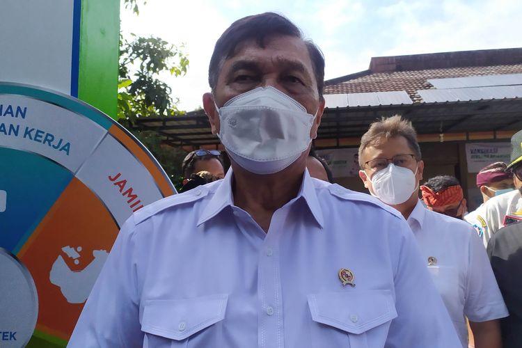 Menteri Koordinator Bidang Kemaritiman dan Investasi (Menko Marves) Luhut Binsar Pandjaitan saat berkunjung ke DPRD Provinsi Bali, Kamis (12/8/2021)