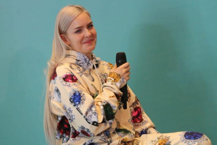 Anne Marie hadir dalam jumpa pers acara Spotify On Stage di Hotel Mercure, Kemayoran, Jakarta Pusat, Jumat (12/10/2018).