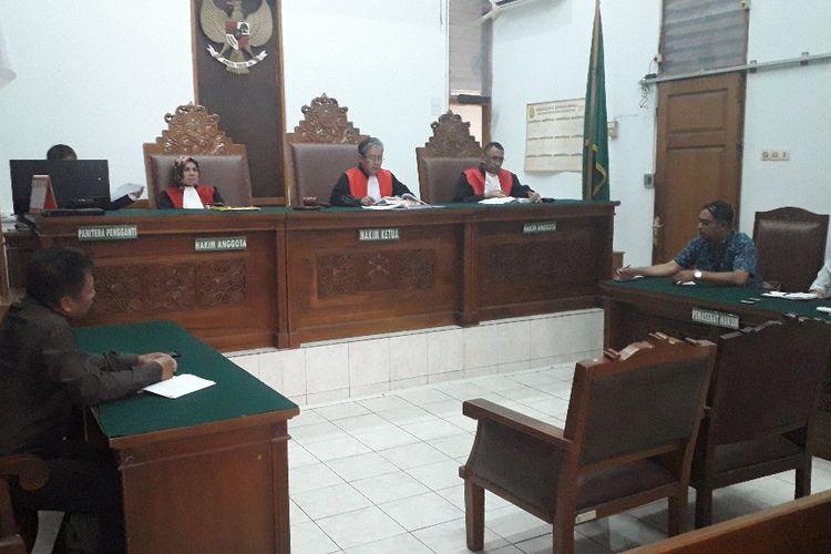 Suasana sidang putusan gugatan sembilan caleg Partai Gerindra di Pengadilan Negeri Jakarta Selatan, Senin (26/8/2019).