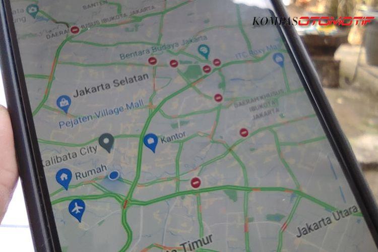 Pantau titik penyekatan lewat aplikasi peta digital google maps