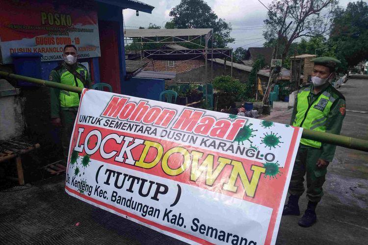 Akses masuk ke Dusun Karanglo Desa Kenteng Kecamatan Bandungan ditutup sebagai upaya menekan penyebaran Covid-19.