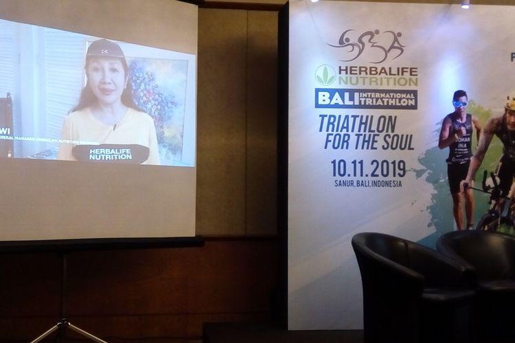 Banner konferensi pers Herbalife Bali International Triathlon (HBIT) 2019 pada Selasa (27/8/2019). Selain kategori triatlon olimpik dan sprint, tersedia juga kesempatan berlari 5 kilometer. HBIT 2019 dilaksanakan pada Minggu (10/11/2019)