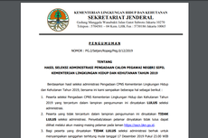Pengumuman Seleksi Administrasi CPNS Kementerian LHK, 18.433 Pelamar Lolos