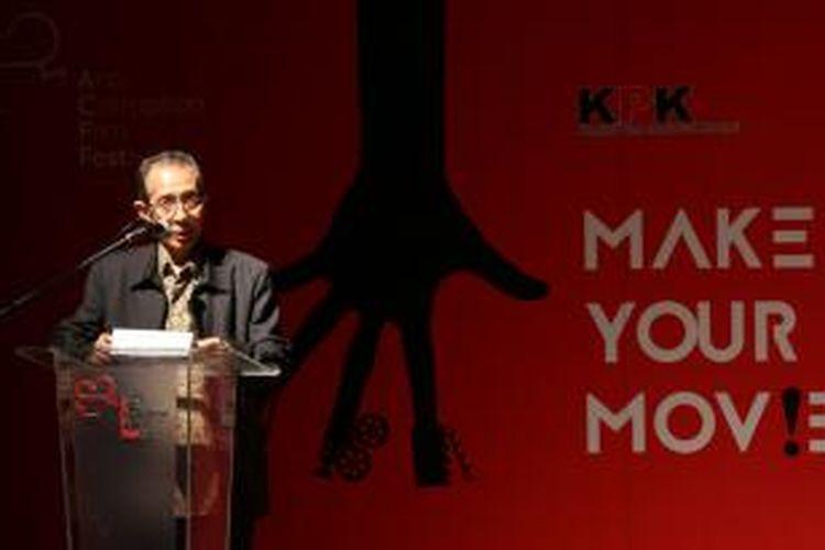 Komisioner Komisi Pemberantasan Korupsi (KPK) Zulkarnain memberikan sambutan dalam peluncuran Anti-Corruption Film Festival (ACFFest) 2015 di Pusat Perfilman Haji Usmar Ismail, Jakarta, Rabu (11/2/2015). ACFFest telah diselenggarakan sejak 2013, dengan menjaring para sineas muda yang memproduksi film bertemakan anti-korupsi.