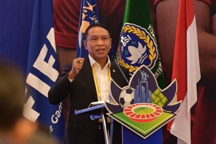 Menpora Zainudin Amali saat membuka Kongres Biasa PSSI di Hotel Raffles, Jakarta, pada Sabtu (19/5/2021).