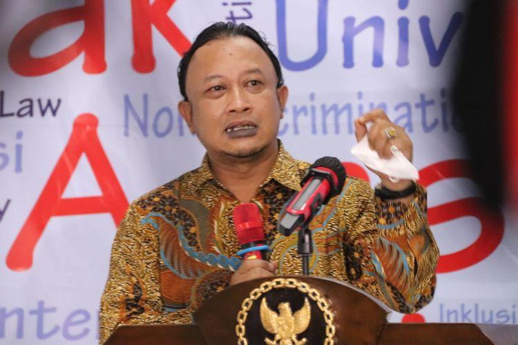 Komisioner Komnas HAM Choirul Anam dalam konferensi pers perkembangan penanganan kasus terkait tes wawasan kebangsaan (TWK) pegawai KPK, Selasa (8/6/2021)
