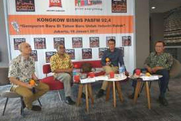 Acara Kongkow Bisnis Pas FM dengan tema 'Gempuran Baru Di Tahun Baru Untuk Industri Rokok' di Hotel Ibis Harmoni, Jakarta, Rabu (18/1/2017).