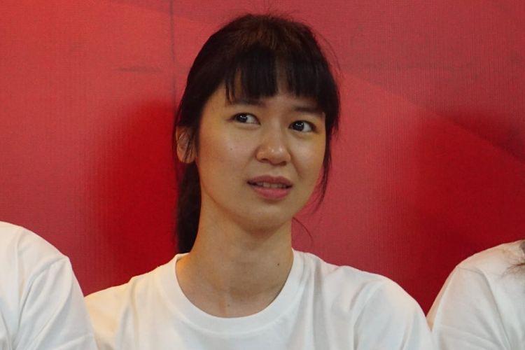 Laura Basuki dalam jumpa pers film Susy Susanti-Love All di Gedung Istora Senayan, Jakarta Selatan, Rabu (19/9/2018).