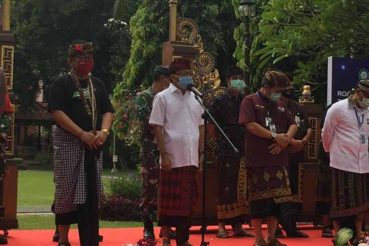 Gubernur Bali, I Wayan Koster saat memberikan sambutannya, Kamis (9/7/2020).