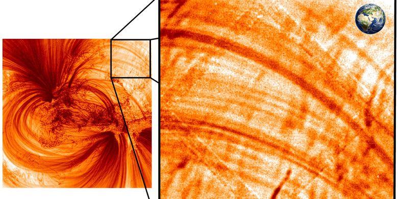 Gambar benang plasma di korona pada atmosfer Matahari.