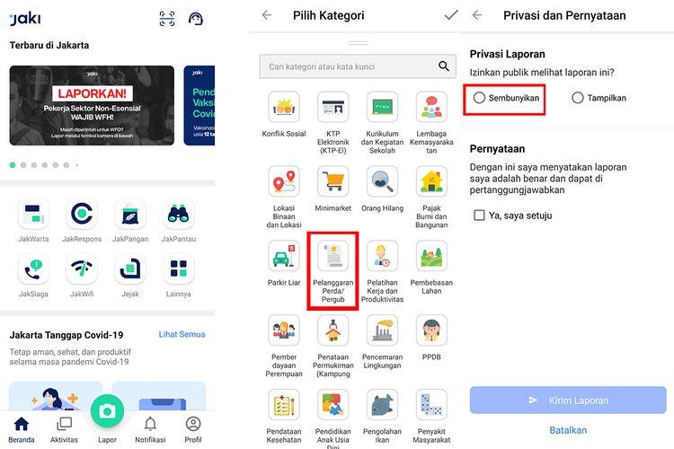 Ilustrasi cara menyampaikan laporan secara anonim via aplikasi JAKI. Pastikan anda memilih opsi Sembunyikan di bagian Privasi dan Pernyataan